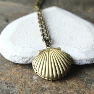 Seashell Locket Necklace, Raw Brass, Handmade 🌸